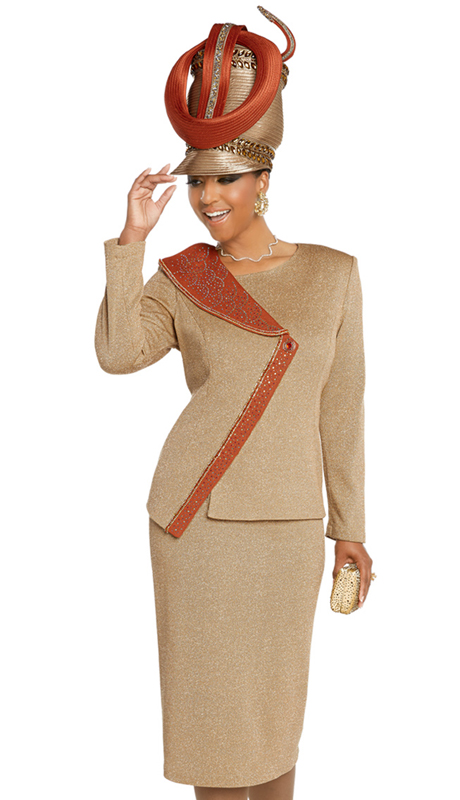 Donna Vinci 13274-TC-CO ( 2pc Exclusive Knit Sunday Suit Trimmed With Multi Colored Rhinestone Design )