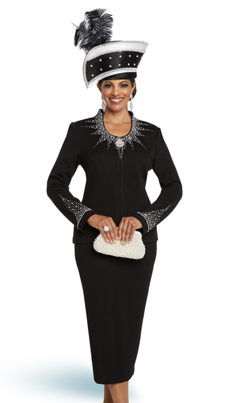 Donna Vinci 13273-BW ( 2pc Exclusive Knit Womens Church Suit With Beautiful Rhinestone And Pearl Trims )