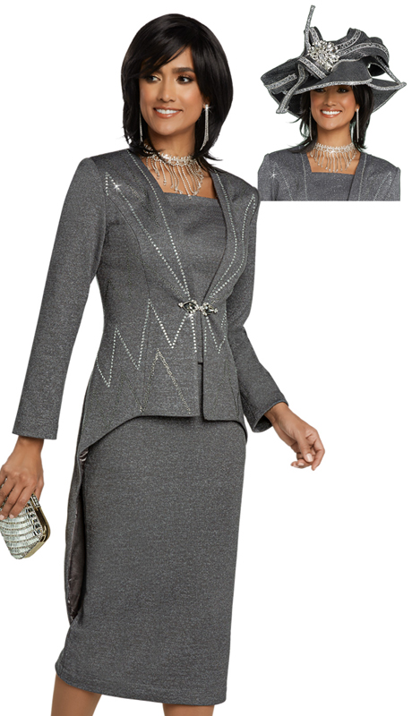 Donna Vinci 13272-GR-CO ( 2pc Exclusive Knit Ladies Church Suit With Hi-Lo Jacket Trimmed With Rhinestones And Rhinestone Buckle )