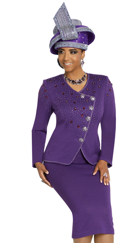 Donna Vinci 13271-PU ( 2pc Exclusive Knit Ladies Church Suit With Elaborate Rhinestone Trims And Buttons )