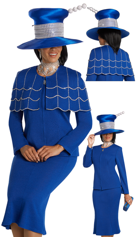Donna Vinci 13269-RO ( 2pc Exclusive Knit Church Suit With Elaborate Rhinestone Trims And A Detachable Cape )