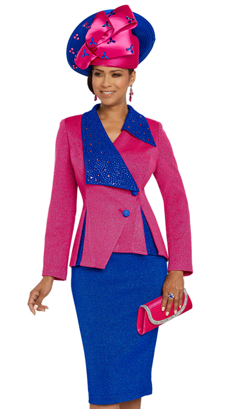 Donna Vinci 13268-FR ( 2pc Exclusive Knit Church Suit With Rhinestone Design )