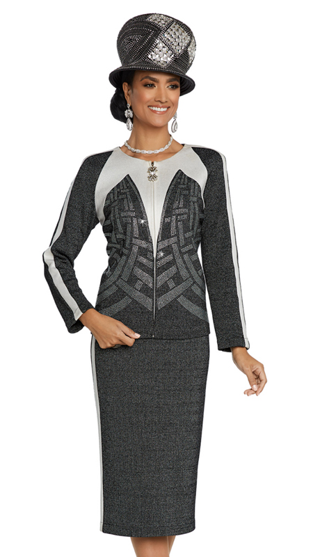Donna Vinci 13267-BOW ( 2pc Exclusive Knit Church Suit With Elaborate Rhinestone Design )