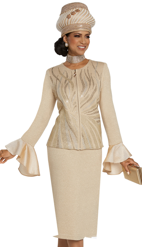 Donna Vinci 13266-BE ( 2pc Exclusive Knit Womens Church Suit With Elaborate Rhinestone Design )