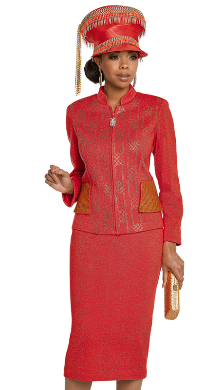 Donna Vinci 13265-RO ( 2pc Exclusive Knit Ladies Church Suit Designed With Metallic Novelty And Elaborate Rhinestone Trimmed Design )