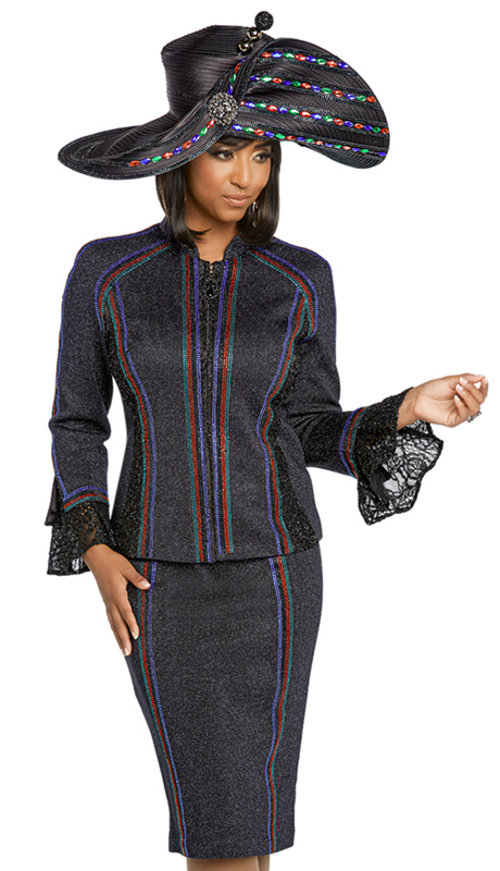 Donna Vinci 13262-MB ( 2pc Exclusive Knit Sunday Suit With Elaborate Multi Colored Rhinestone Design )