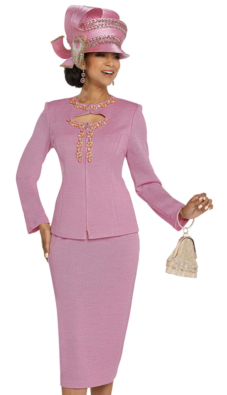 Donna Vinci 13270-PI-CO ( 2pc Exclusive Knit Church Suit With Beautiful Large And Small Stone Trims )
