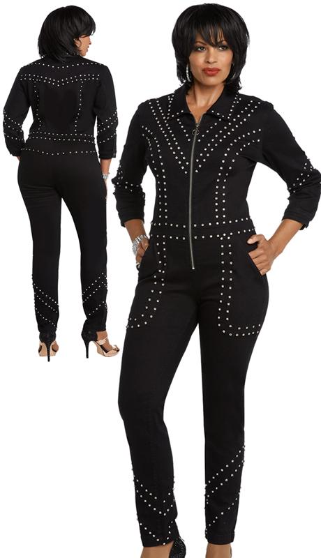 DV Jeans 8431-BK ( 1pc Premium Soft Stretch Denim Jumpsuit Trimmed With Rhinestones)
