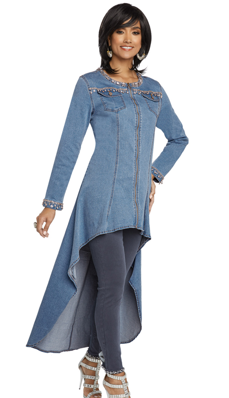 DV Jeans 8426-LB ( 1pc Premium Soft Stretch Denim High-Lo Tunic With Elaborate Rhinestone Trim Design)