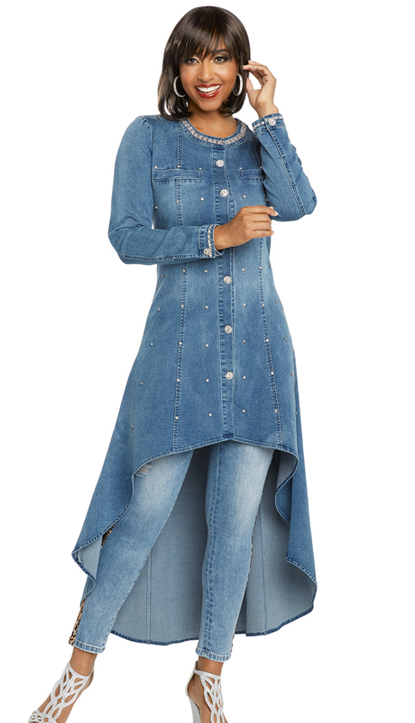 DV Jeans 8425-LB ( 1pc Premium Soft Stretch Denim High-Lo Tunic With Rhinestone Trims And Buttons)