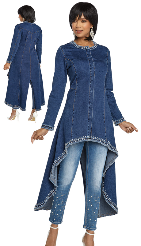 DV Jeans 8424-BL ( 1pc Premium Soft Stretch Denim High-Lo Tunic With Pearls And Rhinestones)