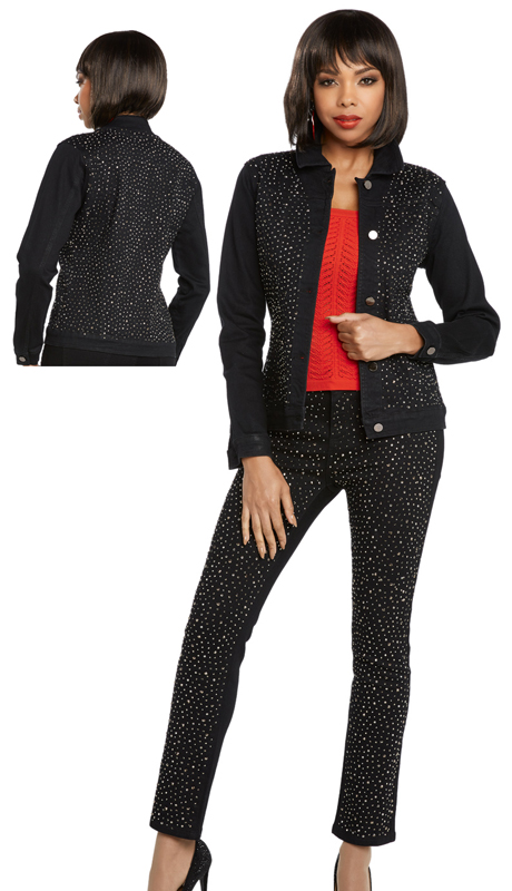 DV Jeans 20001-BK ( 2pc Premium Soft Stretch Denim Jacket And Pant Set Trimmed With Rhinestones)