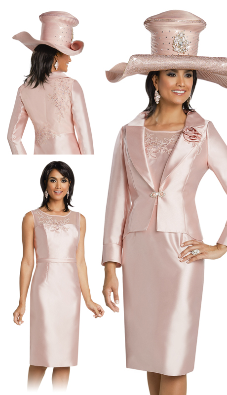 Donna Vinci 11767 ( 2pc Silk Ladies Church Suit With Embroidered Lace Applique And Rhinestone Trims )