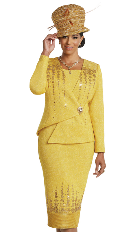 Donna Vinci 13257 ( 2pc Exclusive Knit Ladies Church Suit With Elaborate Rhinestone Design Pattern )