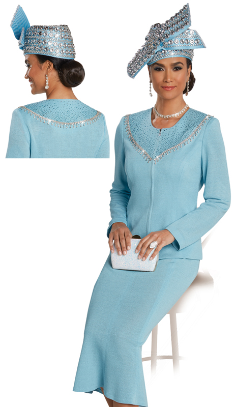 Donna Vinci 13256 ( 2pc Exclusive Knit Suit For Church With Blue Rhinestones )