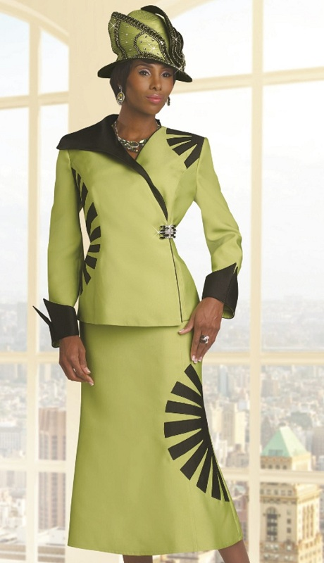 Donna Vinci 11460 ( 2pc Silk Church Suit With Roll Up Cuffs And Asymmetrical Design )