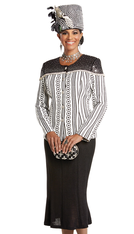 Donna Vinci 13254 ( 2pc Exclusive Knit Suit For Church With Elaborate Rhinestone Trims And Buttons )