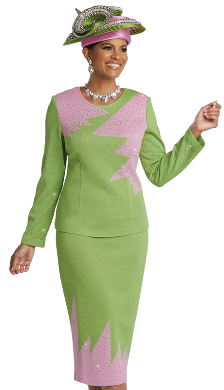 Donna Vinci 13253 ( 2pc Exclusive Knit Suit For Church With Lime And Pink Rhinestones )