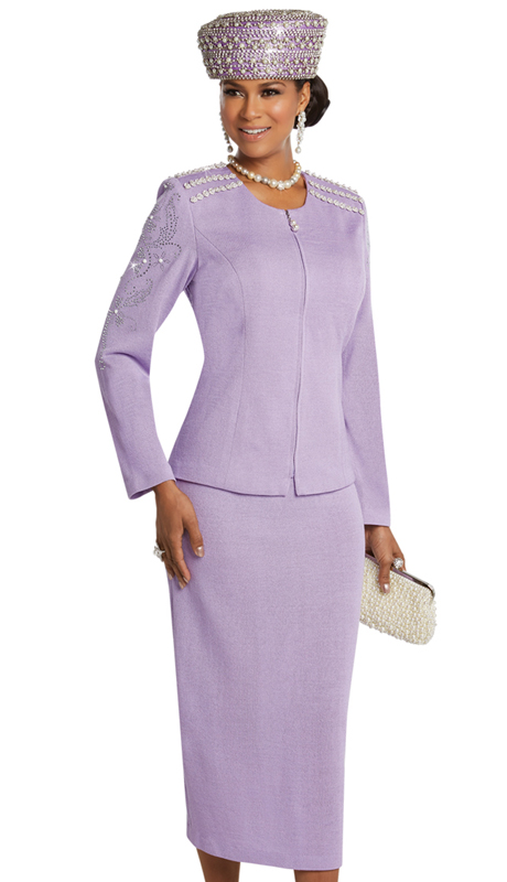 Donna Vinci 13252 ( 2pc Exclusive Knit Church Suit With Rhinestone And Pearl Trims )