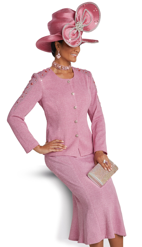 Donna Vinci 13251 ( 2pc Exclusive Knit Suit For Sunday With Rhinestone Trims And Buttons )