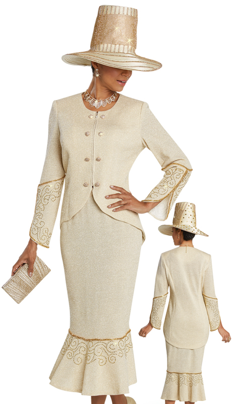 Donna Vinci 13249 ( 2pc Exclusive Knit Ladies Church Suit With Gold Rhinestone Trims And Buttons )
