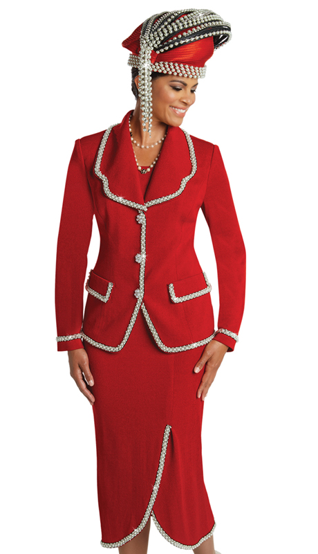 Donna Vinci 13248 ( 2pc Exclusive Knit Ladies Church Suit With Pearl And Bead Trims )