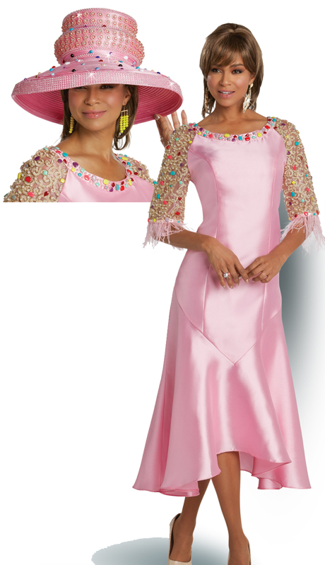 Donna Vinci 11734 ( 1pc Silk Ladies Church Dress With Exclusive Lace And Colored Stones And Ostrich Feathers )
