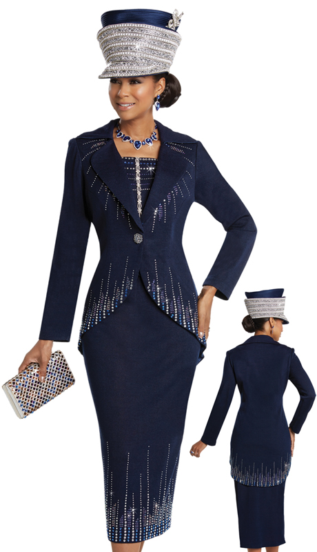 Donna Vinci 13247 ( 2pc Exclusive Knit Suit For Church With Rhinestone Design Pattern  And Button )