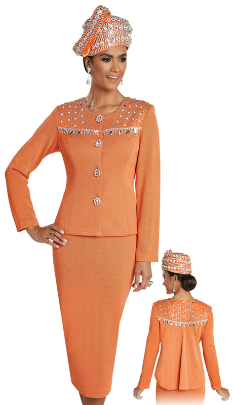 Donna Vinci 13246 ( 2pc Exclusive Knit Church Suit For Ladies With Rhinestone And Pearl Trims )