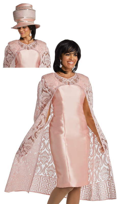Donna Vinci 5627 ( 2pc Exclusive Ladies Church Dress Set With Lacy Cape Style Jacket )