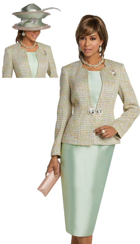 Donna Vinci 5625 ( 3pc Exclusive Novelty And Silk Suit For Sunday With Rhinestone Buckle And Brooch )