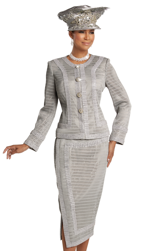 Donna Vinci 5624 ( 2pc Exclusive Novelty Ladies Church Suit With Elaborate Rhinestone Trims And Buttons )