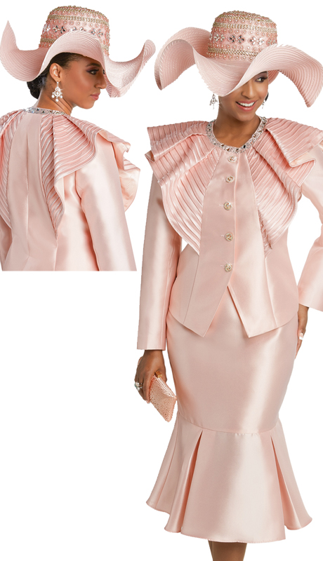 Donna Vinci 11752 ( 2pc Silk Sunday Suit With Satin Strapping And Rhinestone Trims And Buttons )