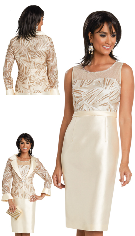 Donna Vinci 11766 ( 2pc Silk Womens Church Dress With Exclusive Embroidered Lace Applique  And Rhinestone Trims)