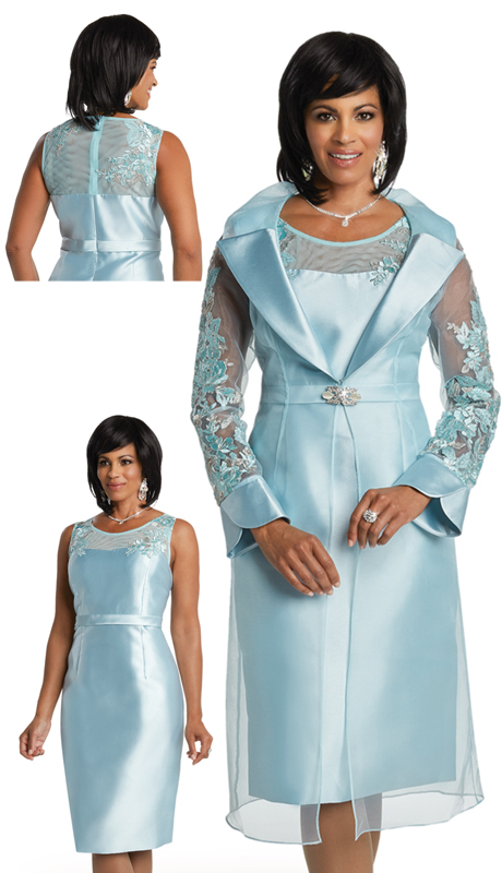 Donna Vinci 11765 ( 2pc Silk Womens Dress For Church With Beautiful Embroidered Design )