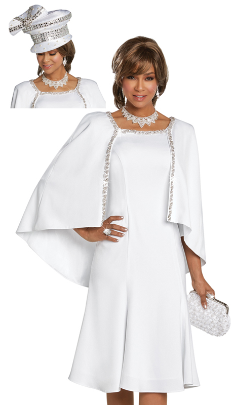 Donna Vinci 11764 ( 1pc Exclusive PeachSkin Ladies Church Dress With Elaborate Rhinestone Trims )