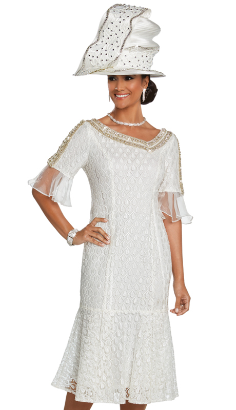 Donna Vinci 5620 ( 1pc Embroidered Exclusive Novelty Womens Church Dress With Rhinestone Trims And Pearls )
