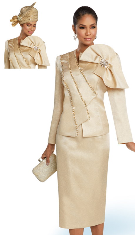 Donna Vinci 11759 ( 2pc Exclusive Novelty Ladies Church Dress With Gold Trims Pearls And A Beautiful Brooch )