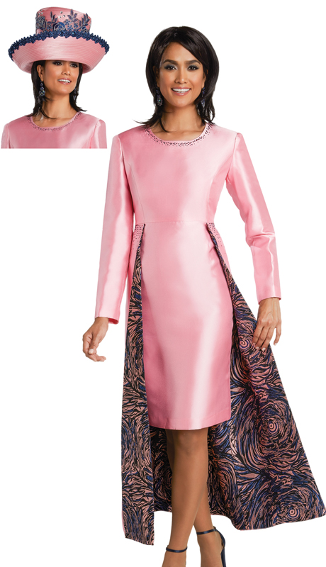 Donna Vinci 11758 ( 1pc Silk Womens Church Dress With Navy And Pink Rhinestones )