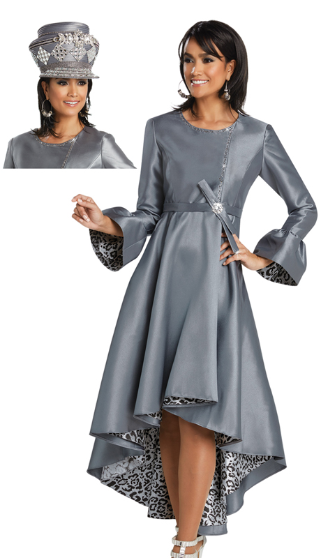 Donna Vinci 11757 ( 1pc Silk Ladies Church Dress With Brocade Novelty Trimmed With Black And Silver Rhinestones )