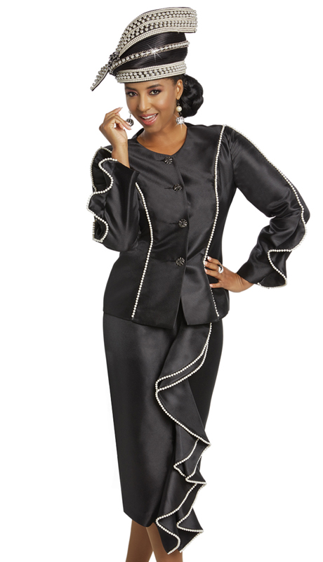 Donna Vinci 11755 ( 2pc Silk First Lady Suit With Pearl Trims And Black Rhinestones Buttons )