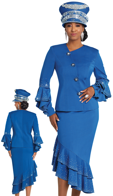 Donna Vinci 11754 ( 2pc Exclusive PeachSkin First Lady Suit With Rhinestones Trims And Buttons )