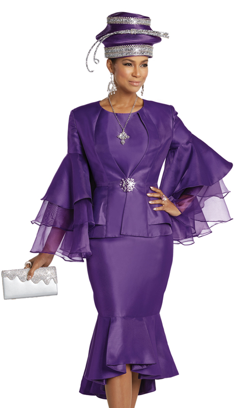 Donna Vinci 11750 ( 3pc Silk Sunday Suit With Organza Sleeves And A Large Rhinestone Buckle )