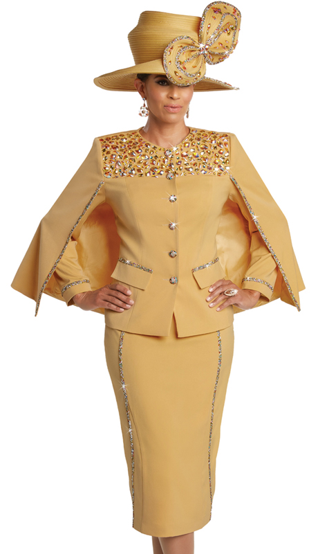 Donna Vinci 11749 ( 2pc Exclusive PeachSkin Suit For Church With Elaborate Multi Colored Rhinestones Pattern And Buttons )