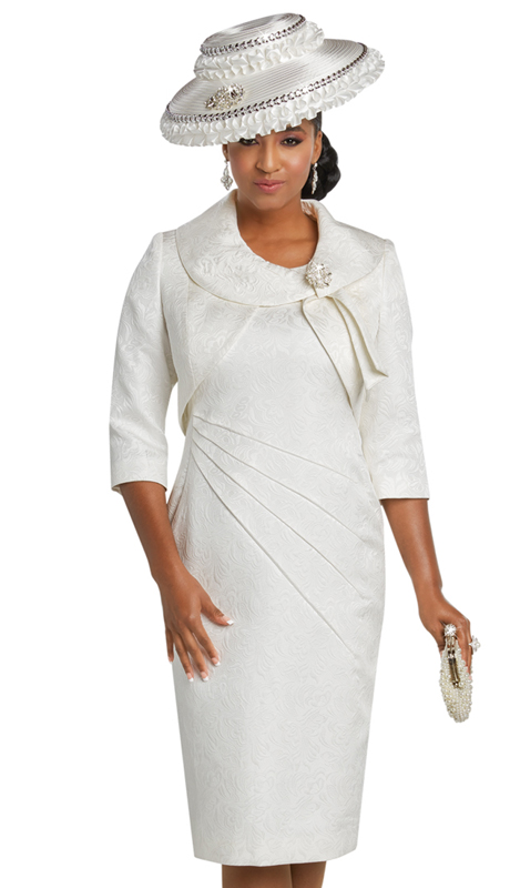 Donna Vinci 11748 ( 2pc Exclusive Novelty Ladies Church Dress With A Beautiful Rhinestone Brooch )