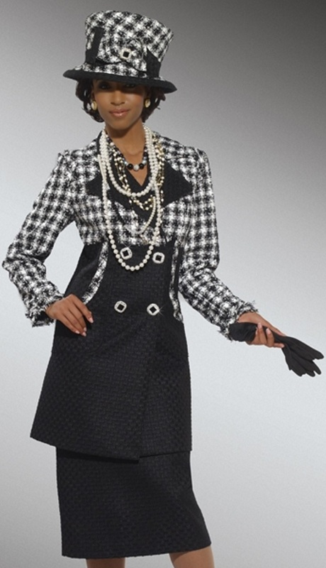 Donna Vinci 5429 ( 2pc Exclusive Boucle Church Suit In Check Pattern Design )