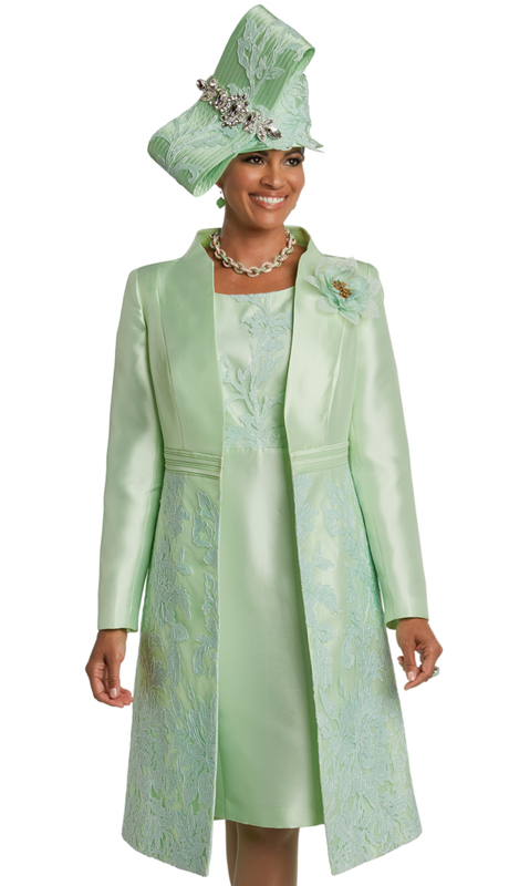 Donna Vinci 11746 ( 2pc Silk Womens Church Dress  With A Beautiful Novelty Embroidered Lace And Flower Brooch )