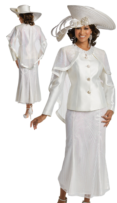 Donna Vinci 11745 ( 2pc Silk Sunday Suit With Iridescent Glitter Mesh Rhinestone Trims And Buttons )