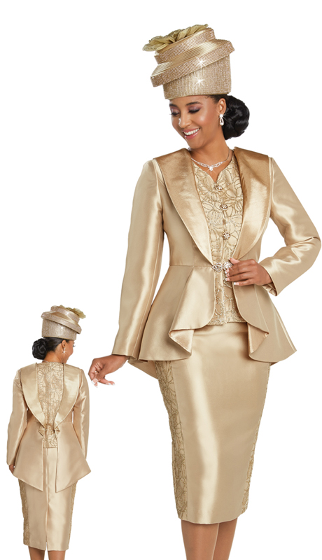 Donna Vinci 11744 ( 1pc Silk First Lady Suit Designed With Gold Trimmings And Rhinestone Buttons )
