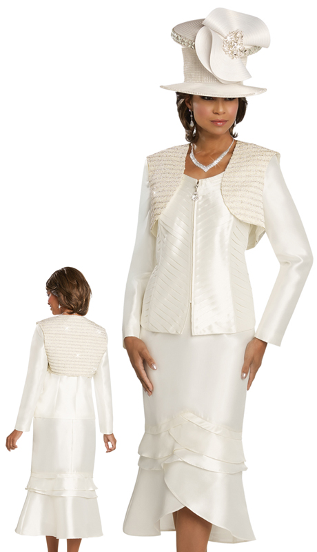 Donna Vinci 11742 ( 3pc Silk Suit For Sunday With Chevron Pleated Front And Vest With Pearls And Trims )